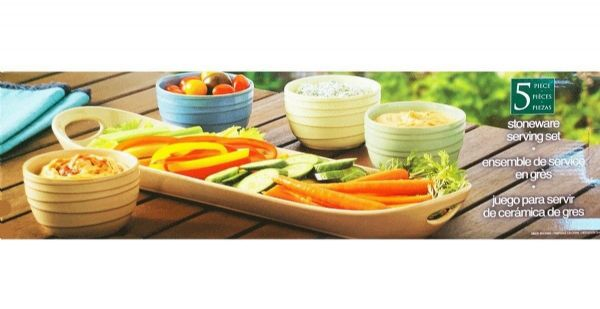 Serving Stoneware 5 Piece Set includes 4 Bowls & 1 Platter Snack/Dips/Sauces